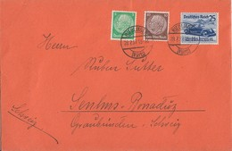DR Brief Mif Minr.515,518,688 Riedlingen 28.2.39 Gel. In Schweiz - Briefe U. Dokumente