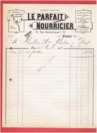 FACTURE 1899 LE PARFAIT NOURRICIER BIBERON 70 RUE ROCHECHOUART A PARIS 9 ALLAITEMENT BEBE - France