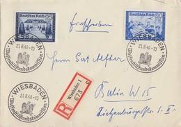 DR R-Brief Mif Minr.711,713 SST Wiesbaden 21.8.40 - Briefe U. Dokumente