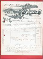FACTURE 1899 ALCOOL DE MENTHE RICQLES USINE A SAINT OUEN SEINE SAINT DENIS MAISONS A PARIS 9 ET LYON COURS D HERBOUVILLE - France