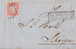 Bayern Brief EF Minr.15 R2 Memmingen 15.6.1868 Gel. Nach Schongau - Bayern
