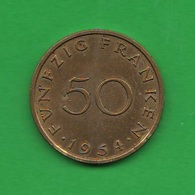 Saar Sarland 50 Franchi 1954 Funfzig Franken - [ 8] Saarland