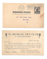UX19 Musical Art Club Meeting Notice 1909 Philadelphia PA Machine Cancel Postal Card - Postal History