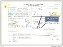 Bulletin D'Expédition - Italie - Cachets Et Vignette BERGAMO (Succursale 7) - 1981 - Par Avion - Tampon FILATI LATEX - 1946-.. République