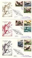 3 Fdc Rodia 1965 ANIMALI PREISTORICI, Raccomandiate - FDC