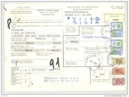 Bulletin D'Expédition - Italie - Cachets Et Vignette MURANO - 1981 - Griffe MODANE STAZIONE Et 4.14.12 - 1946-.. République