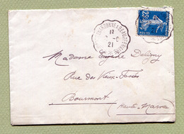 """AMBULANT CONVOYEUR : """" CLERMONT-EN-ARGONNE A BEAUZEE-SUR-AIRE """"  1921 - Marcophilie (Lettres)"""