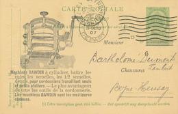 ZZ803 - Entier Postal Armoiries LIEGE 1907 - Repiquage Illustré Machines Pour Cordonniers Bawdin - Chaussures Lannoy - Entiers Postaux