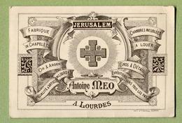 """LOURDES  : """" Antoine MEO - ARTICLES RELIGIEUX - JERUSALEM """" - Cartes De Visite"""