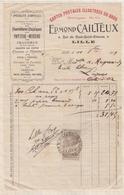 8/97 Lettre Facture CAILTEUX LILLE PAPETERIE MERCERIE CHAPELETS CARTES / 1909 - France