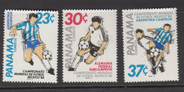 1986 Panama World Cup Football Complete Set Of 3  MNH - Panama
