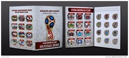 Russia, 2016 World Cup 2018 Football Host Cities Colored 12 Coins X 1 Rbl Album - Russland