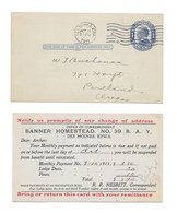 UX22 Des Moines Iowa Banner Homestead NO 39 B A Y Fraternal Lodge 1911 Assessment - Postal History