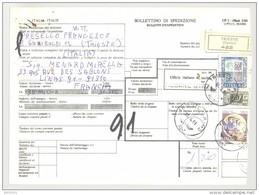 Bulletin D'Expédition - Italie - Cachets Et Vignette TRIESTE - 1981 - Vignette Ufficio Italiano Di Uscita MODANE STAZ - 1946-.. République