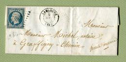 LAMARCHE  : PC 1623  (1854) Sur TP N° 14 Bleu Pâle - Marcophilie (Lettres)