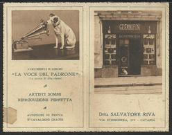 """Calendarietto """"Ditta Salvatore Riva"""" - Catania Con Pubblicità """"La Voce Del Padrone"""" - Formato Piccolo : 1921-40"""