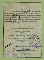 CARTE-LETTRE EN FRANCHISE : SERVICE SANITAIRE  (VOSGES)  1910 - Marcophilie (Lettres)