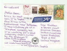 2012 NETHERLANDS Cover VAN GOGH ART  TREE ROSE Flower Stamps (postcard Windmills) To  GB Flowers Roses Trees - Art