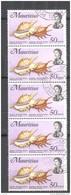Timbre Oblitéré - Mauritius / Ile Maurice -  Bloc De 5 Timbres Violet Spider Shell Orange Spider Shell - Maurice (1968-...)