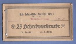 1943 - SCHECKHEFT In Reichsmark Mit 13 Von 25 VORDRUCKE Der Ersten Österreichischen Spar-Casse In Wien 1 - Cheques & Traveler's Cheques
