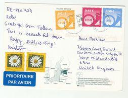 2011 ESTONIA COVER Stamps 2x 0.02 FLOWER 0.01 0.45 0.50  Stamps (postcard Tallinn) To GB  Flowers - Estonia