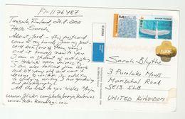 2011 FINLAND COVER Stamps SWAN  FLOWER (postcard ) To GB Bird Birds - Cygnes