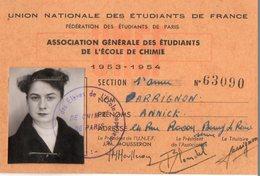 Carte étudiant école De Chimie De Paris. 1953.1954. - Diplômes & Bulletins Scolaires