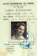 Carte étudiant école Supérieure De Chimie De Paris. 1953.1954. - Diplômes & Bulletins Scolaires