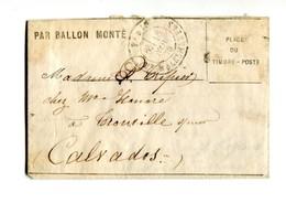 !!! BALLON MONTE LE GENERAL ULRICH POUR TROUVILLE. TIMBRE MANQUANT. TEXTE A L'INTERIEUR ET CERTIFICAT CALVES - Marcophilie (Lettres)