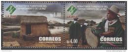 BOLIVIA, 2015, MNH, TOURISM, TOURIST ATTRACTIONS OF LA PAZ PROVINCE, DRUMS, COSTUMES, MOUNTAINS, LAKES,2v - Holidays & Tourism