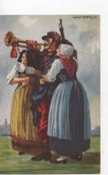 .CPAMilitaire.Patriotique.Suisse.Soldat Jouant Du Clairon Et Femmes En Costumes - Guerre 1914-18