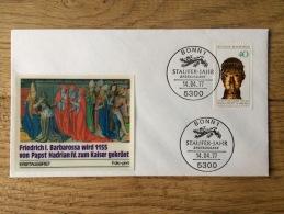 BRD Bund 1977, FDC Barbarossa Papst Hadrian Staufer-Jahr Mit Folio-Print, Stempel Bonn - FDC: Covers