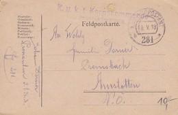 Feldpostkarte - K.u.k. 1. Korpskommando Proviantoffizier - 1918 (35502) - Briefe U. Dokumente
