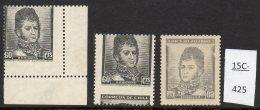 Chile 1948 60c O'Higgins Definitive: SG 379, Soc.403 THREE Varieties, 2 MNH 1 MH (3)  Scarce. - Chile