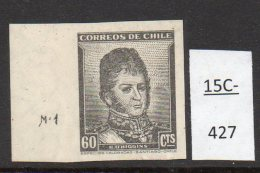 Chile 1948 60c O'Higgins SG 379 Variety Soc 403t : Imperf With Plate Number (M1) – RARE. MNH. - Chile