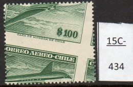 Chile 1957 No Wmk 100p Air Comet Aircraft  With Major Perforation Shift Variety MNH - Chile