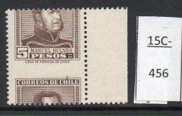 Chile  1956 5p Bulnes (Type B, 19x22 Mms) – Misperf. MNH. - Chile