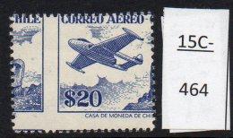 Chile  1956 20p Air Airmail De Havilland Aircraft & Easter Island Monolith – Major Misperf - MNH - Chile