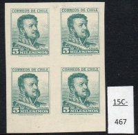 Chile 1960 5m Bulnes Definitive IMPERF Blk/4 MH MNH. SG 490  Chile Soc 622c - Chile