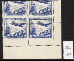 Chile 1951 3p Air Airmail Aircraft & Crane No Wmk – Major Misperf MNH Block/4 - Chile