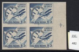 Chile 1954 National Airline 3p Aircraft (biplane) IMPERFORATE Block/4. Mint No Gum. RARE. - Chile