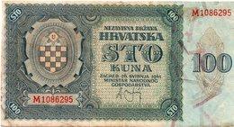 HRVATSKA-CROAZIA 100 KUNA -1941 P-2  XF+ - Croazia