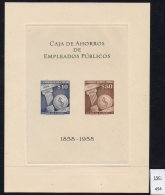 Chile 1958 Savings Bank & Stylized Peso Coin M/s In Issued Colours Of Stamps. See Text. - Chile