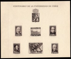 Chile 1942  University Set Of Black Prints On Special Sheet – RARE – 40 Printed. - Chile