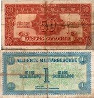 AUSTRIA-50 Groschen-1 Schilling 1944- P-102,103 MILITARY AUTHORITY. - Austria