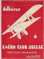 Aviation - Aéro Club Suisse - Section Romande - Rare - Aufkleber