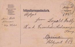 Feldpostkarte - Blumau Nach Opcina K.k. Eisenbahnsicherungs-Kompanie Feldpost 614 - 1916 (35518) - 1850-1918 Imperium
