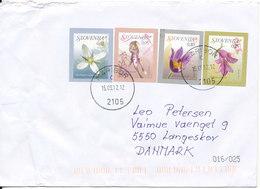 Slovenia Cover Sent To Denmark Maribor 15-9-2012 Topic Stamps FLOWERS - Slovenia