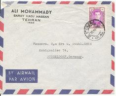 Iran Air Mail Cover Sent To Germany Teheran 27-4-1957 Single Stamped - Iran