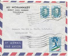 Iran Air Mail Cover Sent To Germany Teheran 21-5-1958 - Iran